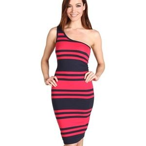 French Connection jag stripe one shoulder dress